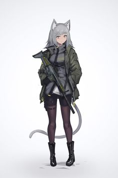 absurdres animal ears assault rifle bangs black footwear boots cat ears cat girl cat tail commentary request deel (rkeg) eyebrows visible through hair fn scar full body gradient gradient background green jacket grey background grey eyes grey hair gun Anime Neko, Manga Anime, Gato Anime, Kawaii Anime, Anime Art, Anime Military, Military Girl, Female Characters, Anime Characters