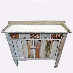 Driftwood Washstand With five handy drawers and two spacious cupboards. So beautiful. Twig Furniture, Driftwood Furniture, Recycled Furniture, Furniture Makeover, Otis Driftwood, Wooden Cupboard, Barn Wood, Adventure Camp, Drift Wood