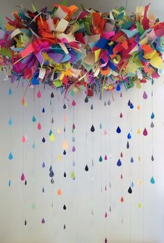 Colorful fabric rain...adorable!