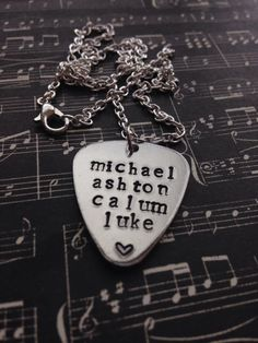 5 Seconds Of Summer Names Hand Stamped Necklace by BandsAndMetal