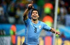 Uruguay's Luis Suarez celebrates after scoring his team's second goal against England at the 2014 World Cup. Photograph: Tony Gentile/Reuters