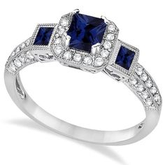Blue Sapphire and Diamond Engagement Ring 14k White Gold (1.35ctw): Jewelry: Amazon.com