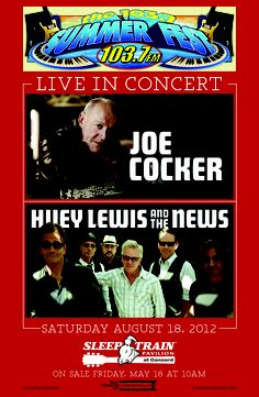 Huey Lewis & the News and Joe Cocker perform at 103.7s Summerfest at Sleep Train Pavilion in Concord on 8/18. Tickets on sale this Friday at LiveNation.com. Limited $25 all-in tickets available while supplies last!