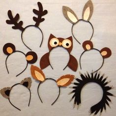 Woodland wild animals nature theme forest creatures ears headband birthday party favors supplies costume invitation decor dress up hat Woodland Party, Woodland Theme, Theme Forest, Forest Party, Party Animals, Forest Creatures, Woodland Creatures, Forest Animals, Woodland Animals