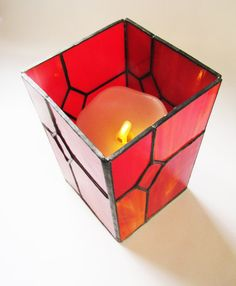 Handmade Stained Glass Candle Holder with Mirror Base- Stunning Red Mixed Opalescent Glass - Unique Valentines Gift Approximately 11cm x 11cm x 17 cm $72.37