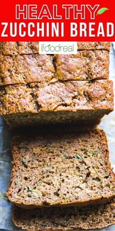 Healthy Zucchini Bread with applesauce, whole wheat flour, low sugar and low fat. A super delicious, easy and moist recipe. Healthy Bread Recipes, Healthy Muffins, Healthy Baking, Beef Recipes, Healthy Snacks, Cooking Recipes, Diabetic Zucchini Bread Recipe, Recipies, Vegan Recipes