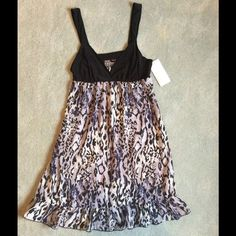 NWT Black/Animal Print Chemise- Size Small NWT Black/Animal Print Chemise - Size Small, Black opaque material at bust with sheer flowy animal print bottom Gilligan & O'Malley Intimates & Sleepwear Chemises & Slips