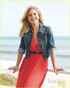 Emily Vancamp: On Our Cover : In this Issue : Lucky Magazine, Summer outfit, I like the coral dress and jean jacket Emily Revenge, Revenge Cast, Amanda Clarke, Emily Thorne, Sharon Carter, Emily Vancamp, Fashion Tv, Fandom Fashion, Fashion Ideas