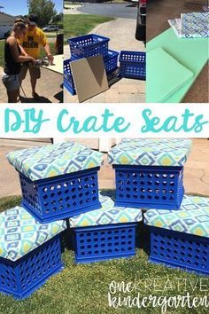 Want to create your own DIY crate seats? Check out this post and learn how to make them on your own! classroom DIY, summer DIY projects, for the classroom, elementary teacher, kindergarten teacher classroom themes New Classroom, Classroom Design, Classroom Libraries, Creative Classroom Ideas, Classroom Storage Ideas, Garden Theme Classroom, Reading Corner Classroom, Classroom Displays, Reading Nook