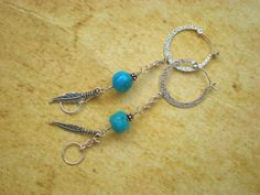 Turquoise sky earrings, sterling silver hoop earrings, turquoise, feather charm…
