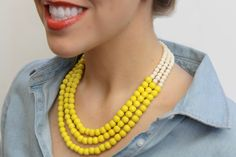 Yellow Necklace / Bright Yellow Beaded Necklace / Yellow and Ivory Wood Bead Necklace / Bridesmaid Necklace / Yellow and White Necklace by BevinBold on Etsy https://www.etsy.com/listing/152043315/yellow-necklace-bright-yellow-beaded