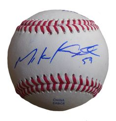 SF Giants Mike Kickham signed Rawlings ROLB leather baseball w/ proof photo.  Proof photo of Mike signing will be included with your purchase along with a COA issued from Southwestconnection-Memorabilia, guaranteeing the item to pass authentication services from PSA/DNA or JSA. Free USPS shipping. www.AutographedwithProof.com is your one stop for autographed collectibles from San Francisco Bay Area Sports teams. Check back with us often, as we are always obtaining new items.