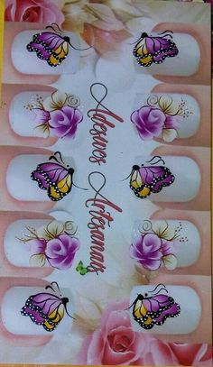 Uñas One Stroke, Nail Stickers, Gorgeous Nails, Manicure And Pedicure, Watercolor Tattoo, Nail Designs, Nail Art, Glitter, Tattoos