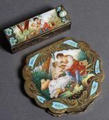 antique silver enamel italian compact and lipstick set