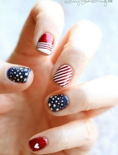 Red White and Blue Wedding Ideas - 4th of july nail art #4thofjuly #nails
