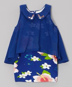 This Navy Blue Floral Shift Dress - Toddler & Girls by Blossom Couture is perfect! #zulilyfinds