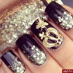 Princess nails   queen  royal  nail art  so cute  black  sparkles  crown  butterflies  acrilic nails
