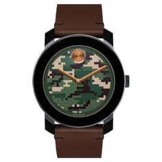 - Bold Camouflage Dial Leather Strap Watch by Movado