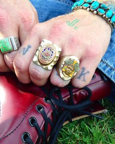 "RED RABBIT TRADING on Instagram: ""Out of the box for us but we liked these too much to walk away! Mexican souvenir biker rings to die for! These big boys are heavy and meant to be worn! ⚜Left square with side details size 11 $200. Right circle size 10 $150⚜ DM for more pictures or with questions #rriaavailable #biker #mexicanbikerring"""