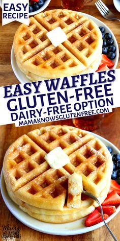 Gluten Free Perogies Recipe, Egg Free Waffle Recipe, Dairy Free Recipes For Kids, Gluten Free Cooking, Lactose Free Waffles, Easy Recipes For Breakfast, Dairy Free Breakfasts, Breakfast Waffles, Anti Inflammatory Recipes