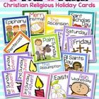 """Make note of upcoming Christian holidays with this set of A Year of Faith Christian Religious Calendar Cards. The set includes 2.5"""" square cards fo..."""