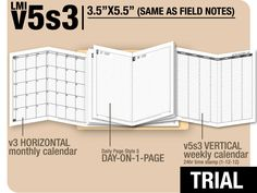 Trial / v5s3 / Field Notes size / with ds5 day-on-1-page / November to December 2015 / Midori Traveler's Notebook Printable New Item from DIY fish