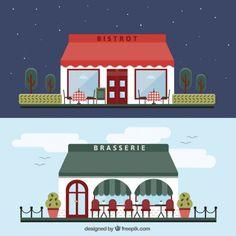 Restaurant buildings Free Vector