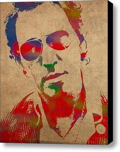 Bruce Springsteen Watercolor Portrait On Worn Distressed Canvas Print
