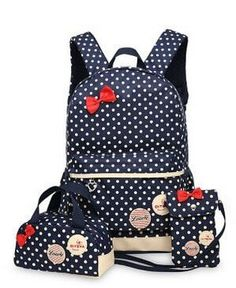 Girls Waterproof Polkadot Bow Backpack + Small Size Lunch Box + Mobile Phone Bag Set 3pc Set (4 colors)