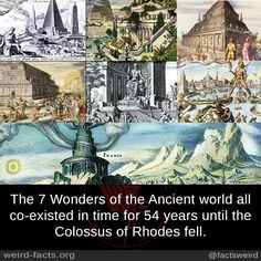 Mind Blowing Facts, The 7 Wonders of the Ancient world all co-existed...