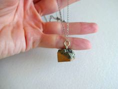 Gold Dipped Pyrite Charm and Oxidized Sterling Silver Long Pendant Necklace on Etsy, $28.00
