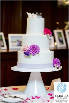 Wychmere Beach Club, Cape Cod, oceanside wedding reception site, modern wedding cake with purple florals and whales at Cape Cod wedding.