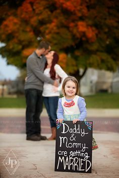 Cute Engagement Announcement! Fall engagement announcement with daughter in Southern Illinois | Julie Pottorff Photography | www.juliepottorff.com | Great way for your child to announce your engagement!