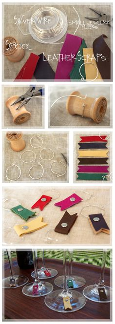 DIY your photo charms, compatible with Pandora bracelets. Make your gifts special. Make your life special! Leather Wine Glass Charms [hmm, a couple sets of 6 made w/ fabric? Wine Glass Markers, Wine Glass Crafts, Wine Craft, Wine Bottle Crafts, Crea Cuir, Diy Jewelry Charms, Crafts To Make, Diy Crafts, Diy Wine Glasses