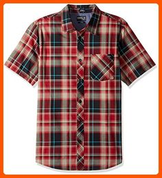 O'Neill Men's Plaid Short Sleeve Shirt, Crimson, Large - Mens world (*Amazon Partner-Link)