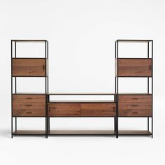 Knox Media Console with 2 Tall Storage Bookcases + Reviews | Crate and Barrel Open Bookcase, Bookcase Storage, Media Storage, Bookcases, Living Room With Fireplace, Home Living Room, Console Cabinet, Modern Shelving, New Home Designs