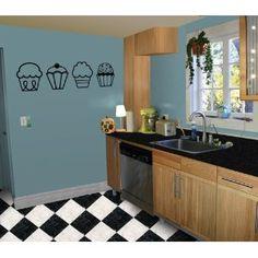 4 Cupcakes - Kitchen / Nursery Vinyl Wall Art Decal Sticker Decor NEED THESE