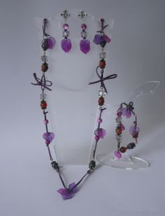 Light and long purple #necklace, #bracelet and earrings
