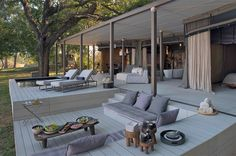 Zen in Zambia- the new luxury of Chinzombo - Luxury Hotels Travel-Style walking-safari pioneer's daughter in law opened this. in south luangwa Outdoor Spaces, Outdoor Living, Outdoor Decor, Porches, African Furniture, Game Lodge, Villa, Home And Deco, Big Houses
