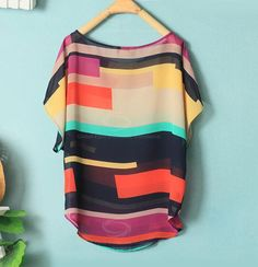 Women's Irregular Chiffon Stripe Splicing Mutli-Color Bat Sleeve Shirt Blouse, AS THE PICTURE, L in Blouses | DressLily.com