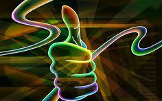 Herunterladen hintergrundbild daumen, hand, kunst, neon lichter
