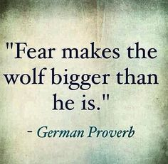 """""""Fear makes the wolf bigger than he is."""" -- German Proverb"""