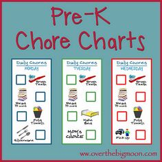 Great idea!! Simple daily chores charts to help your Pre-K aged kid(s) learn the routine of helping and having chores!  Available completed or blank as a psd or pdf file.