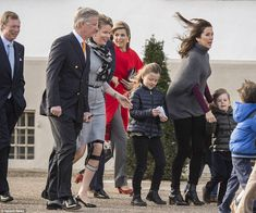 Grand Duc Henri of Luxembourg, King Philippe and Queen Mathilde of Belgium, Queen Maxima of the Netherlands, Crown Princess Mary of Denmark with her children Princess Isabella, Princess Josephine and Prince Vincent arrive to greet Queen Margrethe on the morning of her 75th birthday.