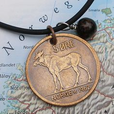 Old Norwegian coin necklace WITH a MOOSE!