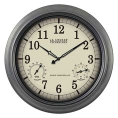 La Crosse Technology Indoor/Outdoor 18 inch Atomic Wall Clock with Thermometer/Hygrometer, Multicolor Outdoor Wall Clocks, Outdoor Walls, Indoor Outdoor, Wall Clock Analog, Atomic Wall Clock, Wall Clock With Thermometer, La Crosse Technology, Atomic Time, Outdoor Patios