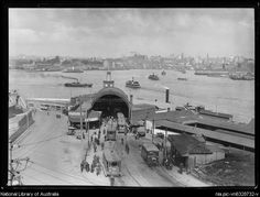 Sydney ferries building, Milson's Point Wharf, Lower North Shore, Sydney, from National Library of Australia. Sydney Ferries, Australian Continent, Largest Countries, Historical Images, The Old Days, Small Island, Sydney Australia, Sydney Harbour Bridge, North Shore