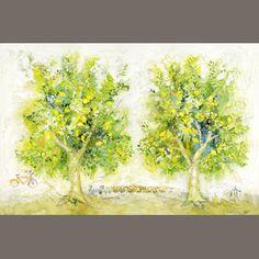 Yannis Kottis (Greek, born Lemon trees 100 x 150 cm. Sold for inc. Video Artist, Painters, Greece, Lemon, Auction, Artists, Fine Art, Contemporary, Videos