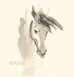"""Horse Art Painting, Original Watercolor by Anna Noelle Rockwell, Framed-""""Intense"""" by annarockwell on Etsy"""