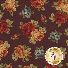 """Wharton 39265-4 Brown By Rosemarie Lavin For Windham Fabrics: Wharton is a Civil War collection by Rosemarie Lavin for Windham Fabrics. This fabric features small rose bouquets tossed on a brown background. Width: 43""""/44""""Material: 100% CottonSwatch Size: 6"""" x 6"""""""